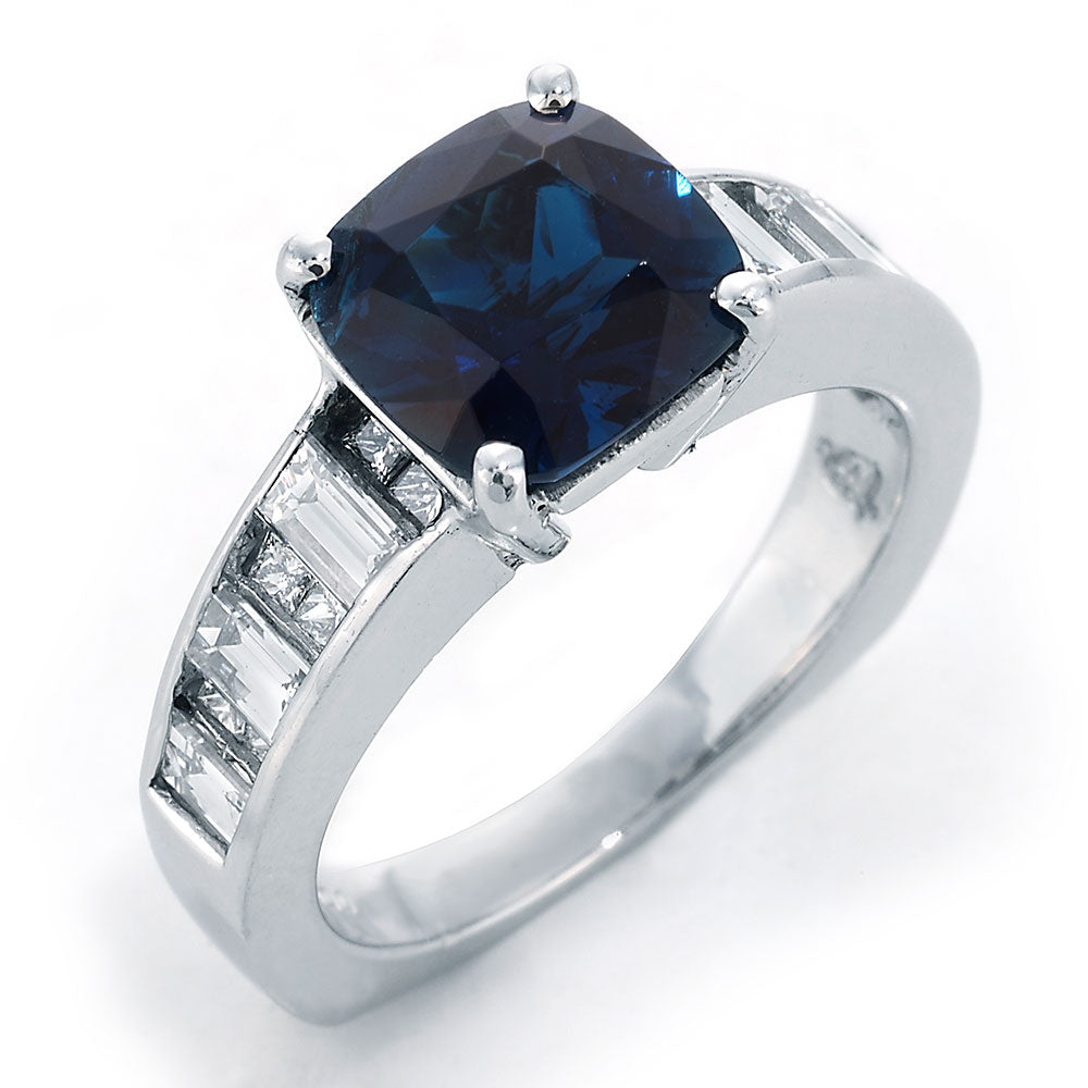 Diamond Ring With Blue Tourmaline and baguette cut diamonds