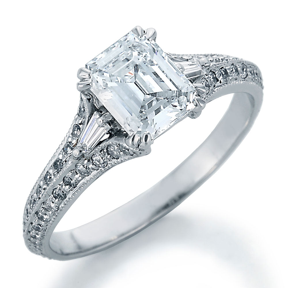 Image of Emerald Cut Center Diamond with Round and Baguette Cut Accent Diamonds Engagement Ring
