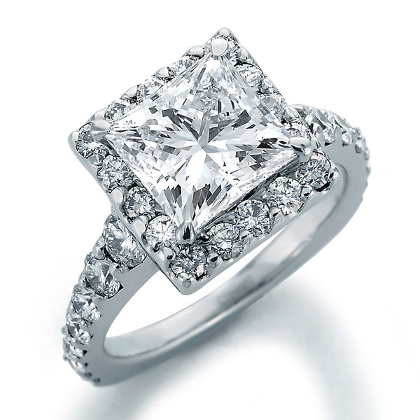 Image of Ellite Princess Cut Center with Ideal Cut Round Diamonds Ring