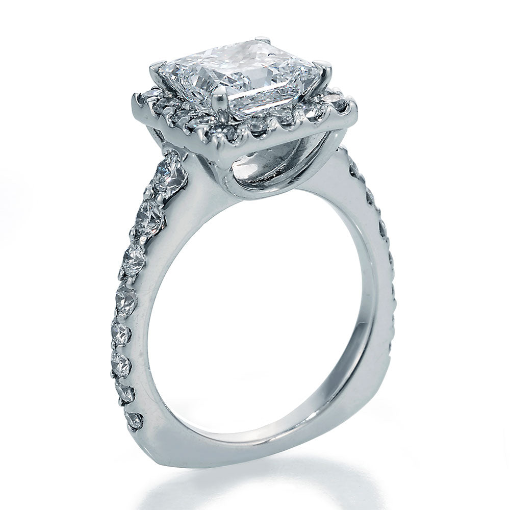 Side View Image of Ellite Princess Cut Center with Ideal Cut Round Diamonds Ring