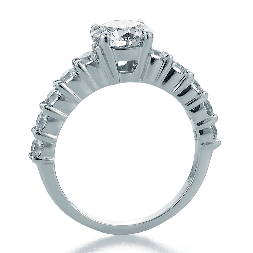 Side View Image of eLLegance Engagement Ring with Round Center and Half Shank Ideal Cut Round Diamonds
