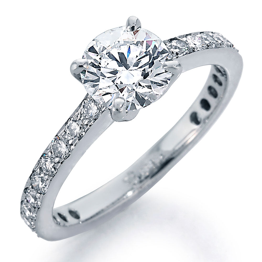 Image of Engagement Ring with Round Center and Ideal Cut Round Diamonds with Smooth Shank