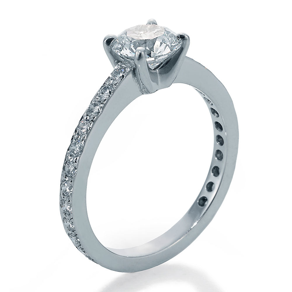 Side View Image of Engagement Ring with Round Center and Ideal Cut Round Diamonds with Smooth Shank