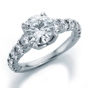 Image of SkaLLop Engagement Ring with Round Center and Ideal Cut Round Diamonds with Textured Shank