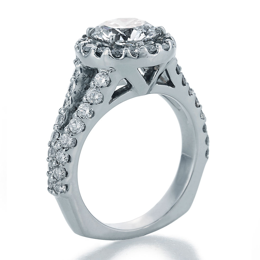 Side View Image of Round Center Diamond in Halo Style Setting with Ideal Cut Round Diamonds and Split Shank Engagement Ring