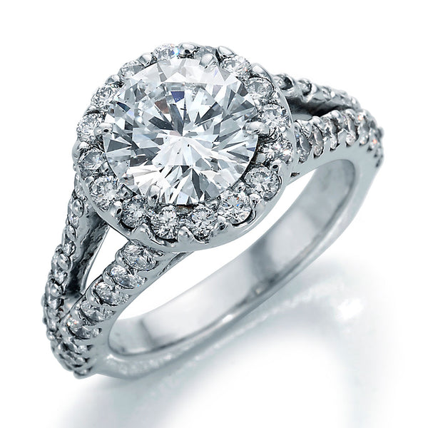 Image of Round Center Diamond in Halo Style Setting with Ideal Cut Round Diamonds and Split Shank Engagement Ring