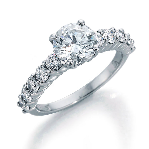 Image of eLLegance Engagement Ring with Round Center and Half Shank Ideal Cut Round Diamonds