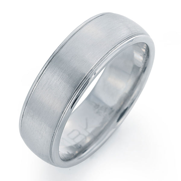 Round Platinum Men's Wedding Band