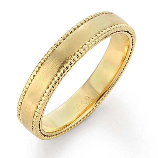 Image of Textured Sides Gold Mens Wedding Band