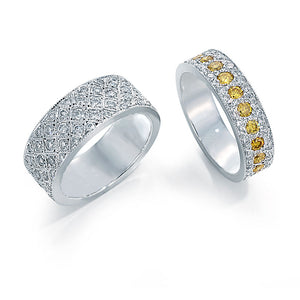 Platinum Eternity Band With Yellow Diamonds