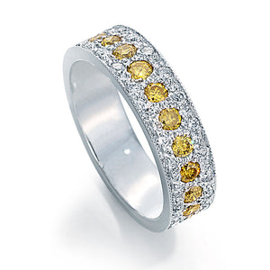 mens wedding band with yellow diamonds