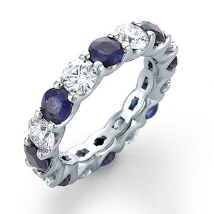 Image of SkaLLop Alternating Color Eternity Ring with Eight Ideal Cut Round Diamonds and Eight Blue Sapphires