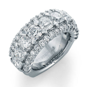 Image of Wedding band with Nine Cushion Cut Diamonds Surrounded by Ideal Cut Round Diamonds