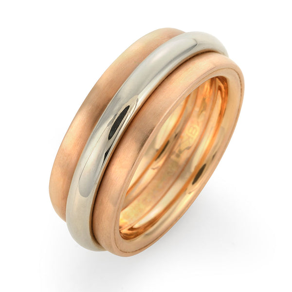 Rose Gold Mens Two Tone Wedding Ring