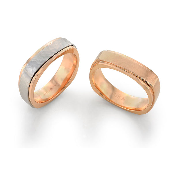Two Tone Gold and Platinum Mens Wedding Band