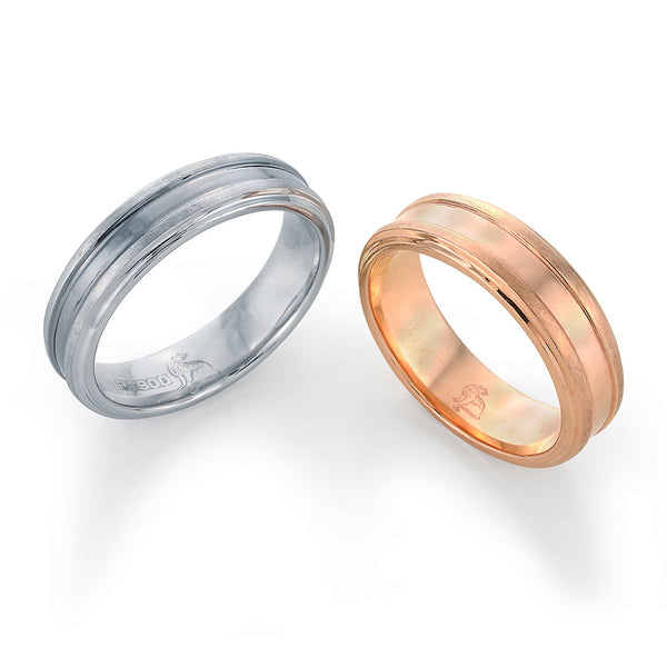 platinum and rose gold wedding bands