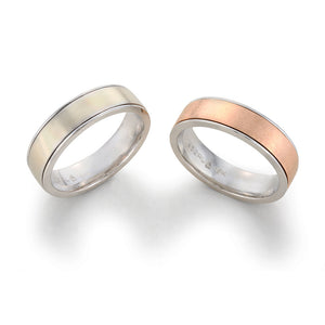 Image of Two-Toned Wedding Band in Platinum on Platinum and Rose Gold on Platinum