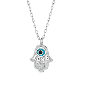 Large Pave Heart Hamsa Love Necklace