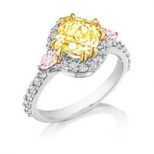 Image of Lester Lampert's Chardonnay Diamond Ring with Two Natural Light Pink Pear Shape Diamonds