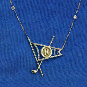 Enameled Diamond Burgee Necklace