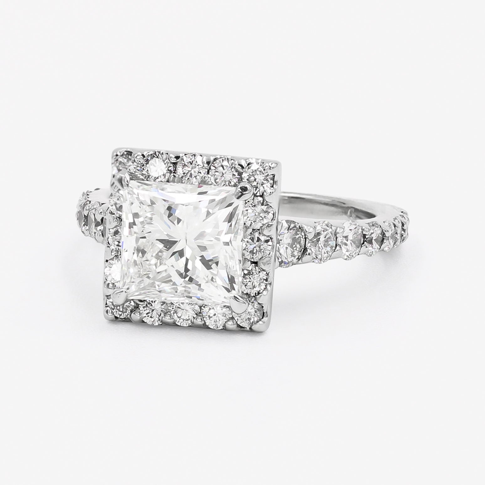 Image of Princess Cut and Halo Set Platinum and Diamond Ring Front Side