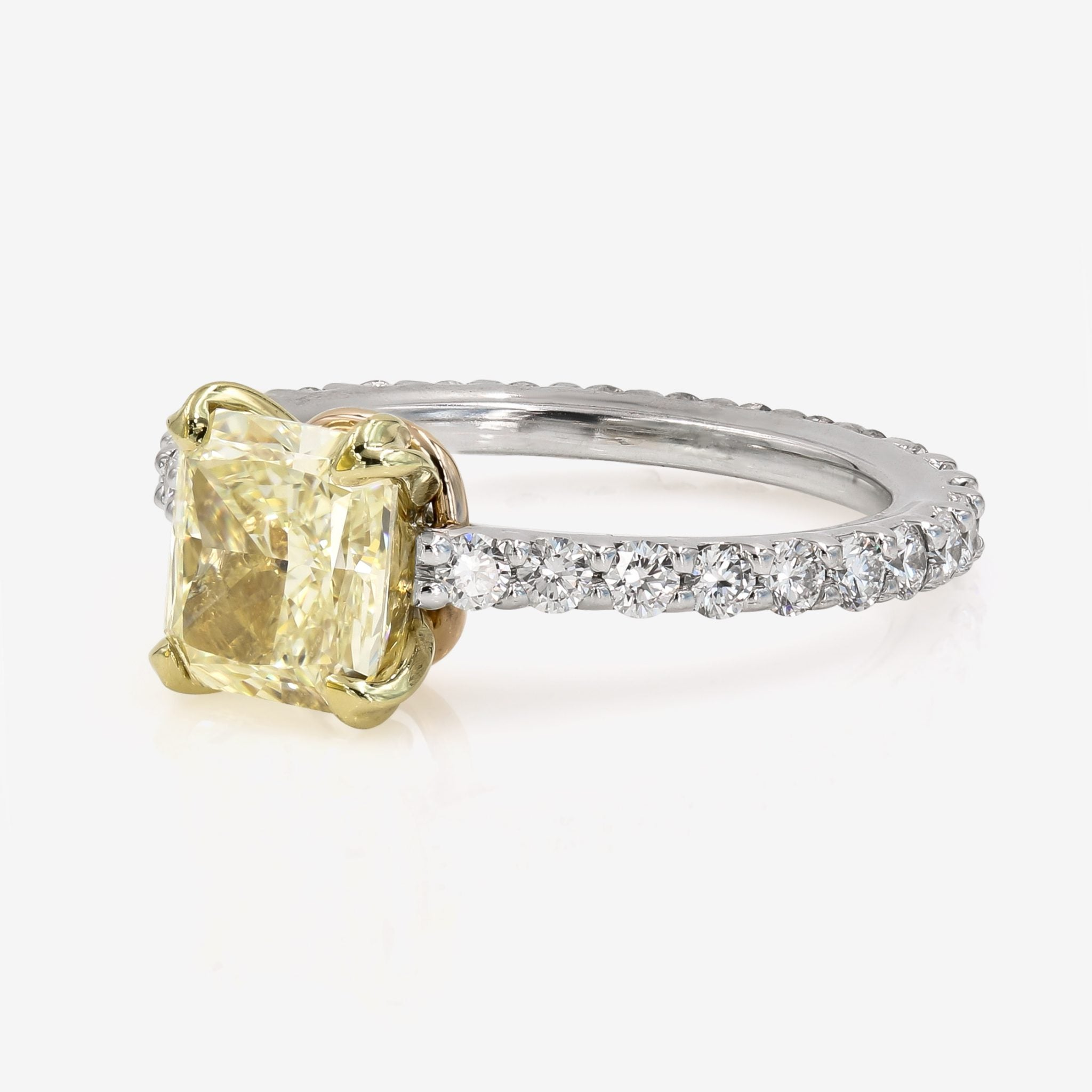 Image of Yellow Chardonnay Radiant Cut Diamond on Diamond Platinum Band Side Front