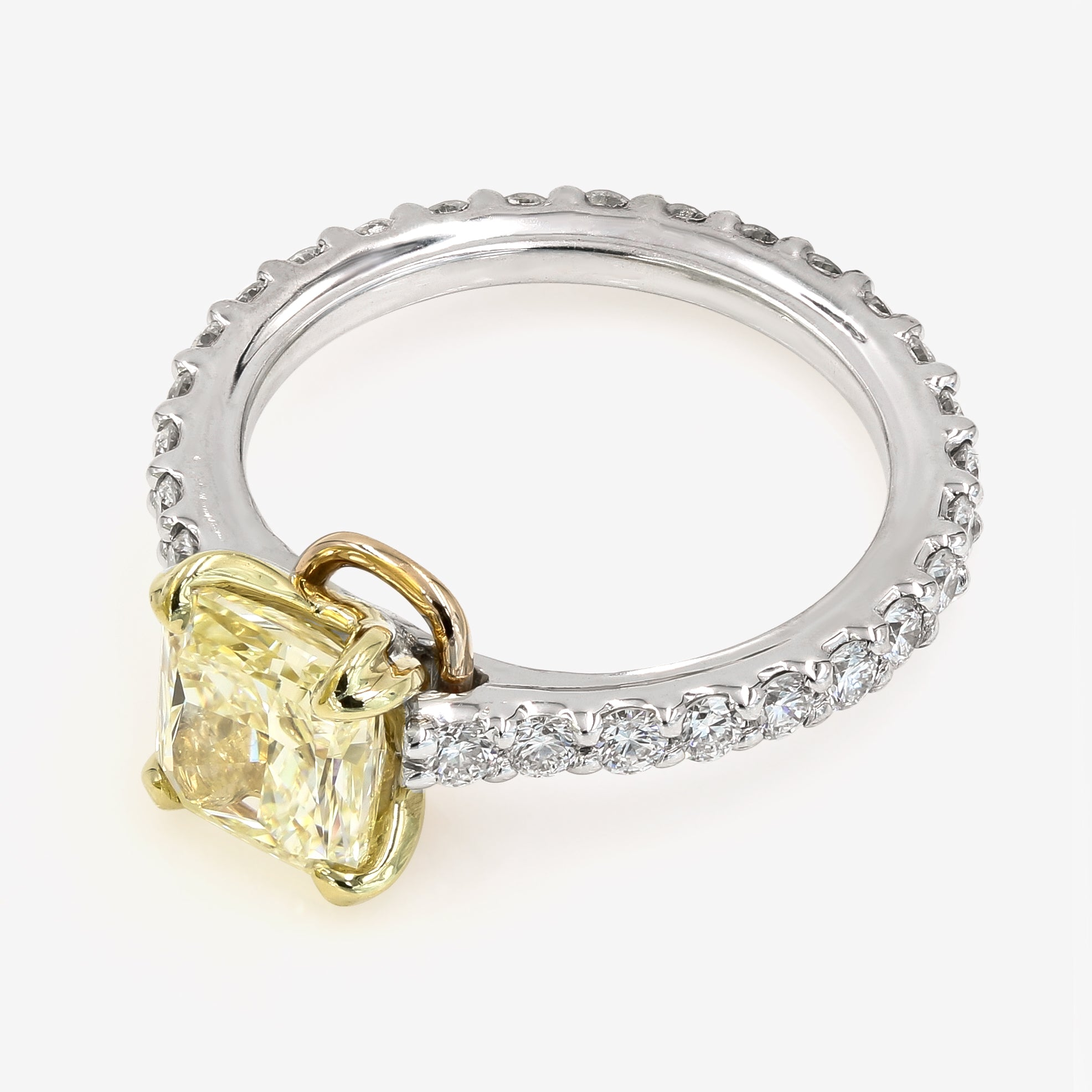 Image of Yellow Chardonnay Radiant Cut Diamond on Diamond Platinum Band Top View