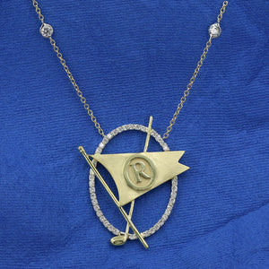 Oval Diamond Frame Burgee Necklace