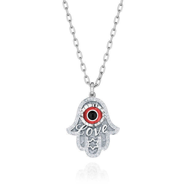 Large Love & Star of David Hamsa Diamond Necklace