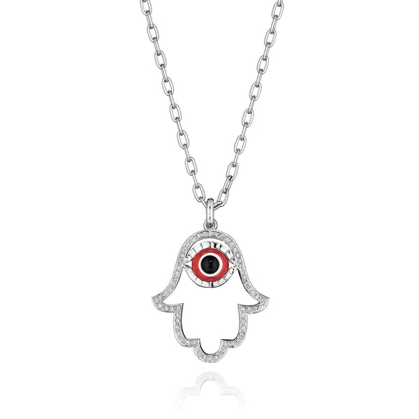Medium Open Frame Diamond Hamsa Necklace