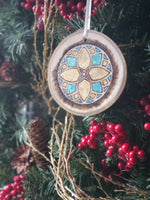 Mandala wood burning ornament or car hanger