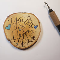 CUSTOM Valentines ornament, locker tag, backpack decoration or window hanging- woodburning and pyrography and watercolor