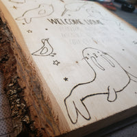 CUSTOM baby gift - baby announcement wood burning and watercolor