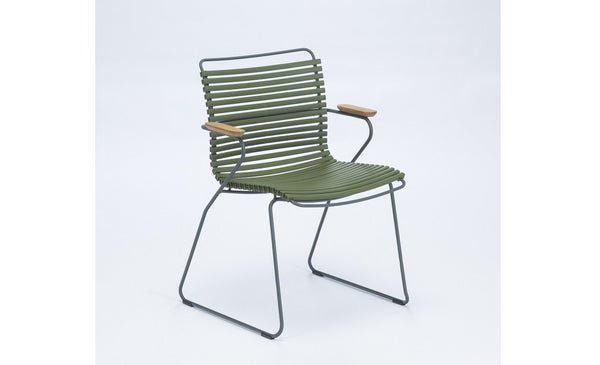 CLICK DINING CHAIR ARMREST OLIVE GREEN PVC