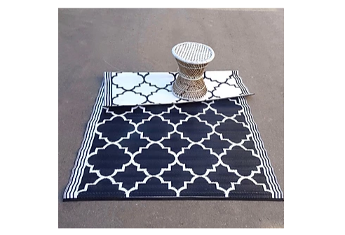 Outdoor Carpet Black - White