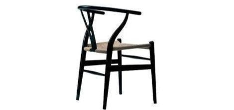 WISHBONE CHAIR-Y-CHAIR -WISHBONE STOEL ZWART + NATUREL ZITTING-EETKAMERSTOEL