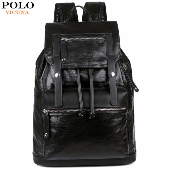 a3d7f6cb8087 VICUNA POLO Drawstring Design Large Capacity Black Men s Leather Backpack