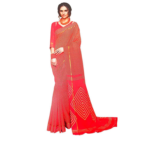 Entrancing Red Leheriya Bandhani Kota Doria Silk Saree