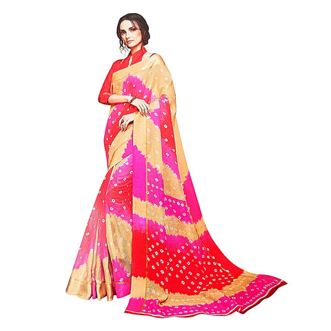 Excellent Multicolor Leheriya Bandhani Kota Doria Silk Saree