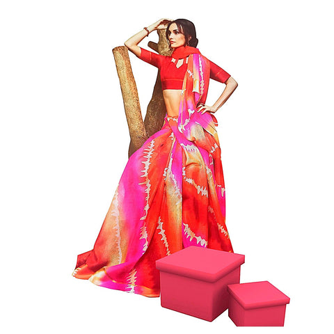 Arresting Multicolor Leheriya Bandhani Kota Doria Silk Saree