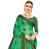 Glamarous Cotton Blend Saree In Green