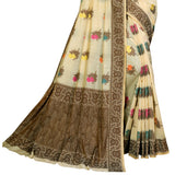 Enchanting Cotton Blend Saree In Off White