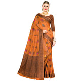 Enchanting Cotton Blend Saree In Orange