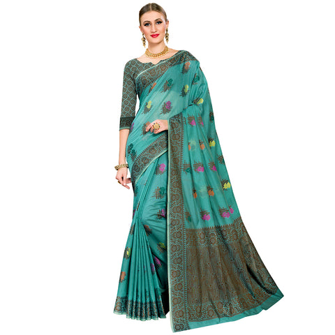 Gleaming Cotton Blend Saree In Green