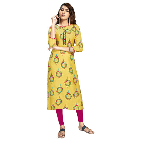 Mesmerising Yellow Colored Rayon Straight Kurti