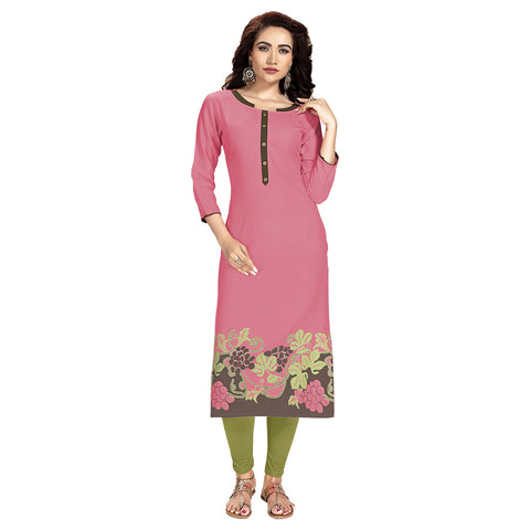 Capricious Pink Colored Rayon Straight Kurti