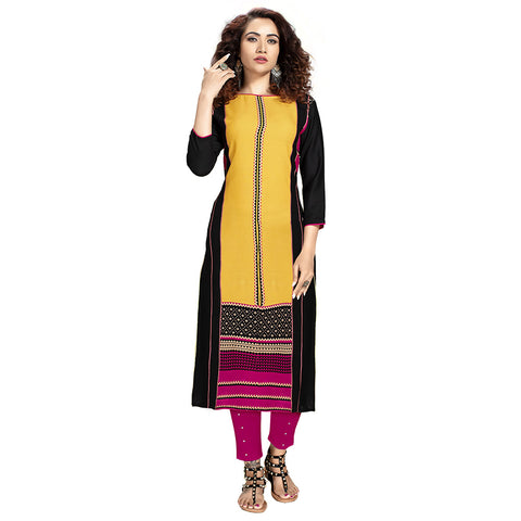 Magnetic Black Colored Rayon Straight Kurti
