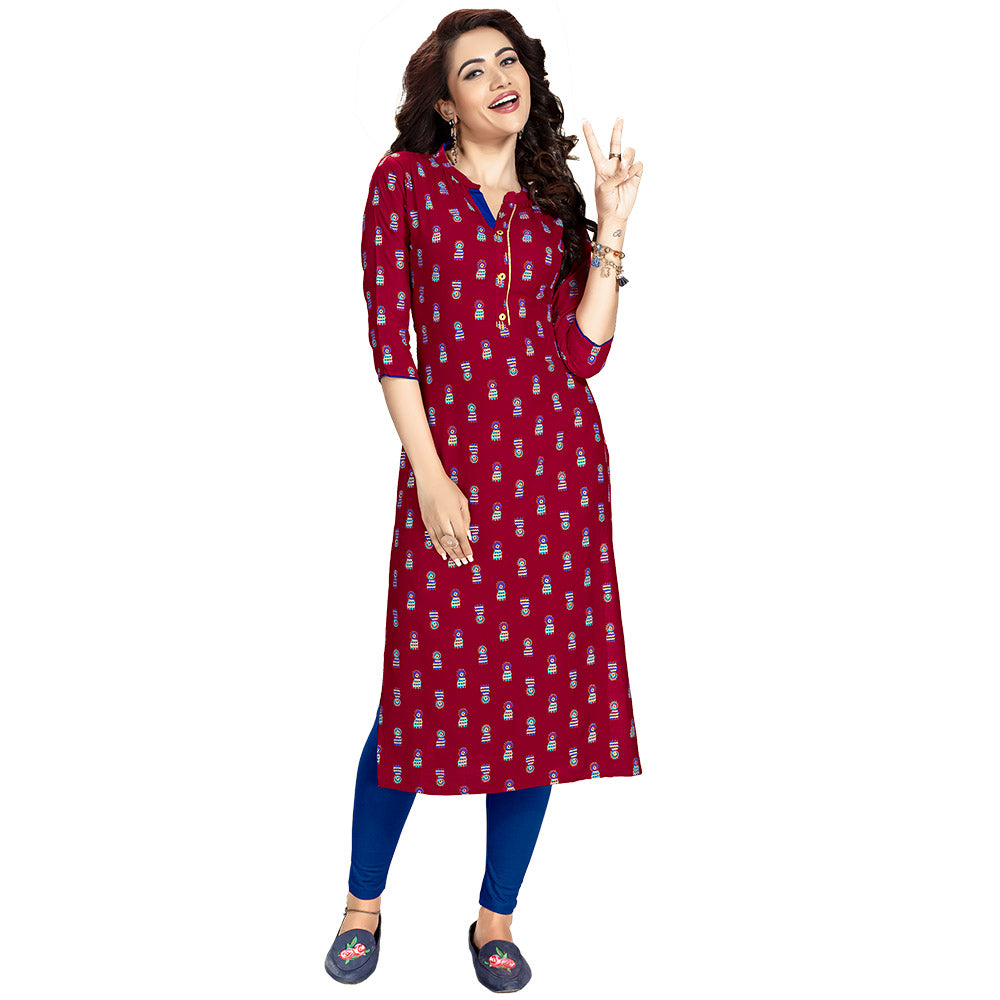 Majestic Maroon Colored Rayon Straight Kurti