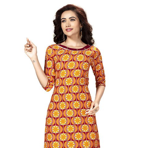 Mesmerising Yellow Colored Printed Kurti
