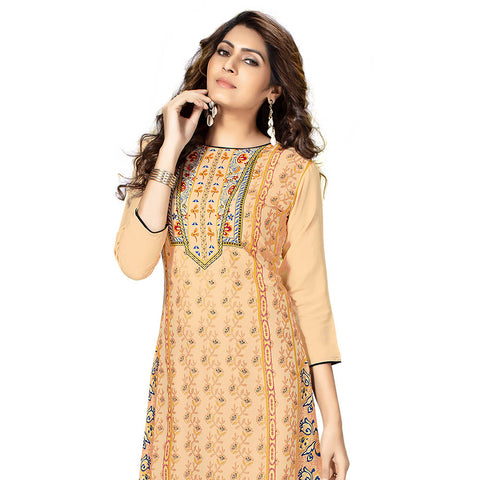 Groovy Cream Colored Printed Kurti